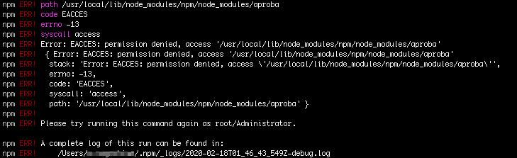 「npm i -g npm」 でアップデートします