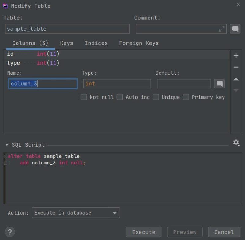 テーブルへのカラム追加や変更などもGUI上で、かんたんに編集できます。